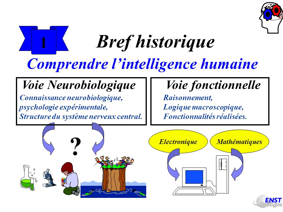 1 Bref historique Comprendre lintelligence humaine Voie NeurobiologiqueVoie fonctionnelle Raisonnement, Logique macroscopique, Fonctionnalités réalisé