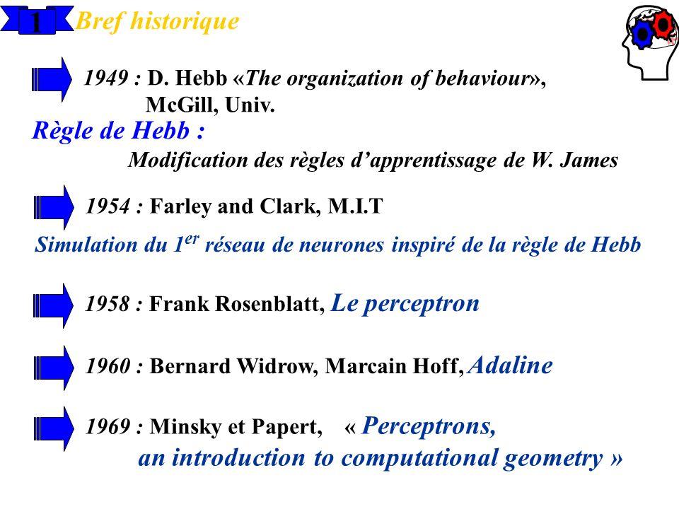 1 Bref historique 1949 : D. Hebb «The organization of behaviour», McGill, Univ. Règle de Hebb : Modification des règles dapprentissage de W. James 195