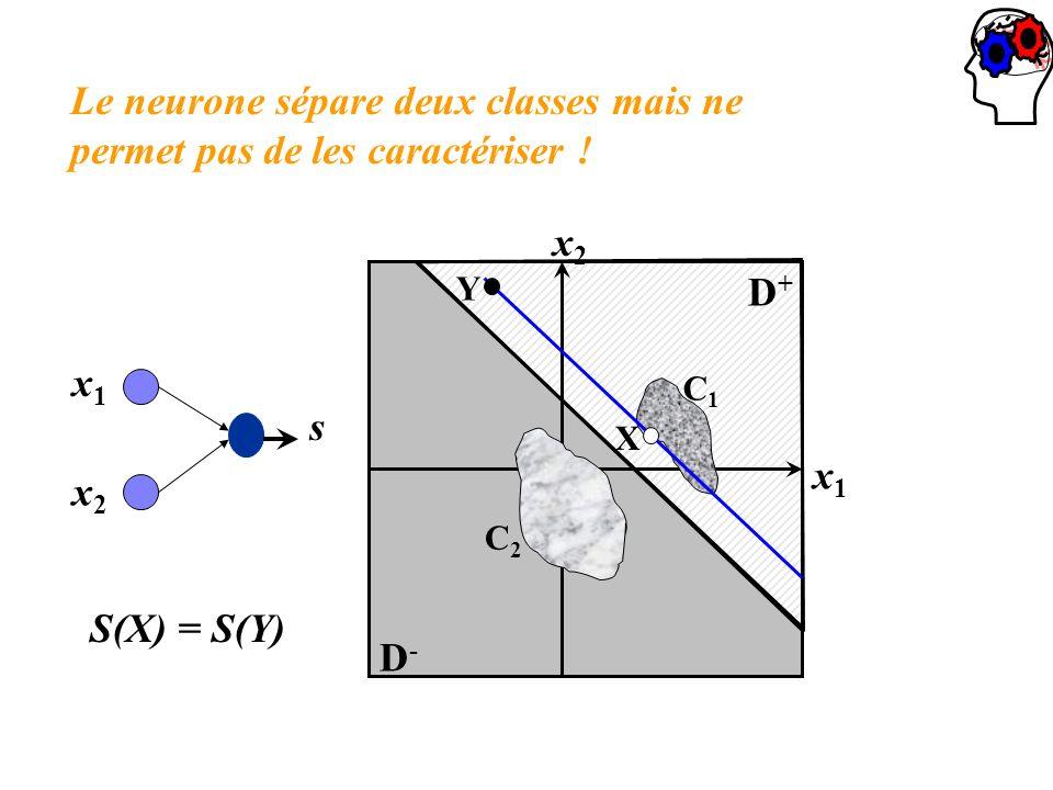 Le neurone sépare deux classes mais ne permet pas de les caractériser ! x1x1 x2x2 D+D+ D-D- X Y C1C1 C2C2 x1x1 x2x2 s S(X) = S(Y)