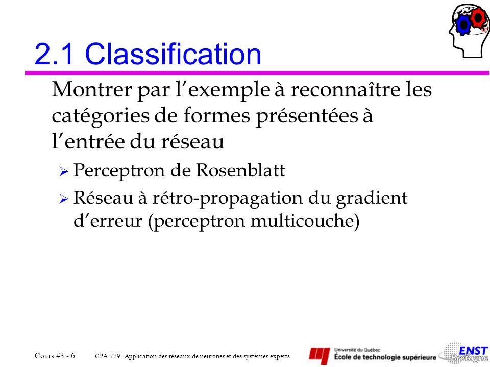GPA-779 Application des réseaux de neurones et des systèmes experts Cours #3 - 6 2.1 Classification Montrer par lexemple à reconnaître les catégories