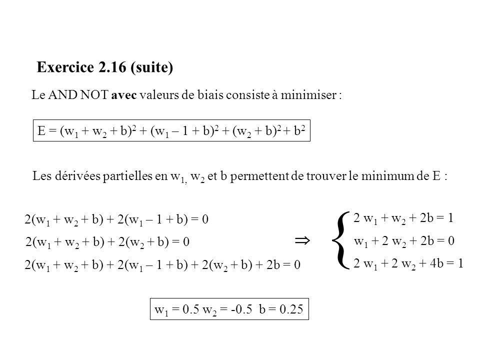 Exercice 2.16 (suite) 2(w 1 + w 2 + b) + 2(w 1 – 1 + b) = 0 E = (w 1 + w 2 + b) 2 + (w 1 – 1 + b) 2 + (w 2 + b) 2 + b 2 2(w 1 + w 2 + b) + 2(w 2 + b)