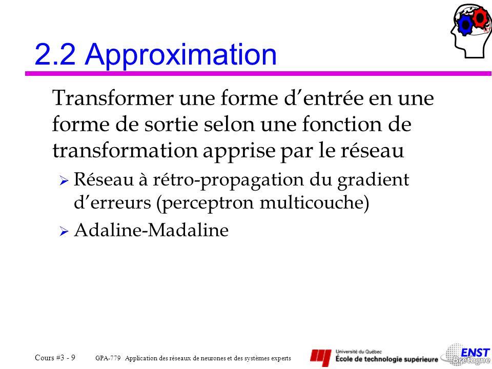 GPA-779 Application des réseaux de neurones et des systèmes experts Cours #3 - 9 2.2 Approximation Transformer une forme dentrée en une forme de sorti