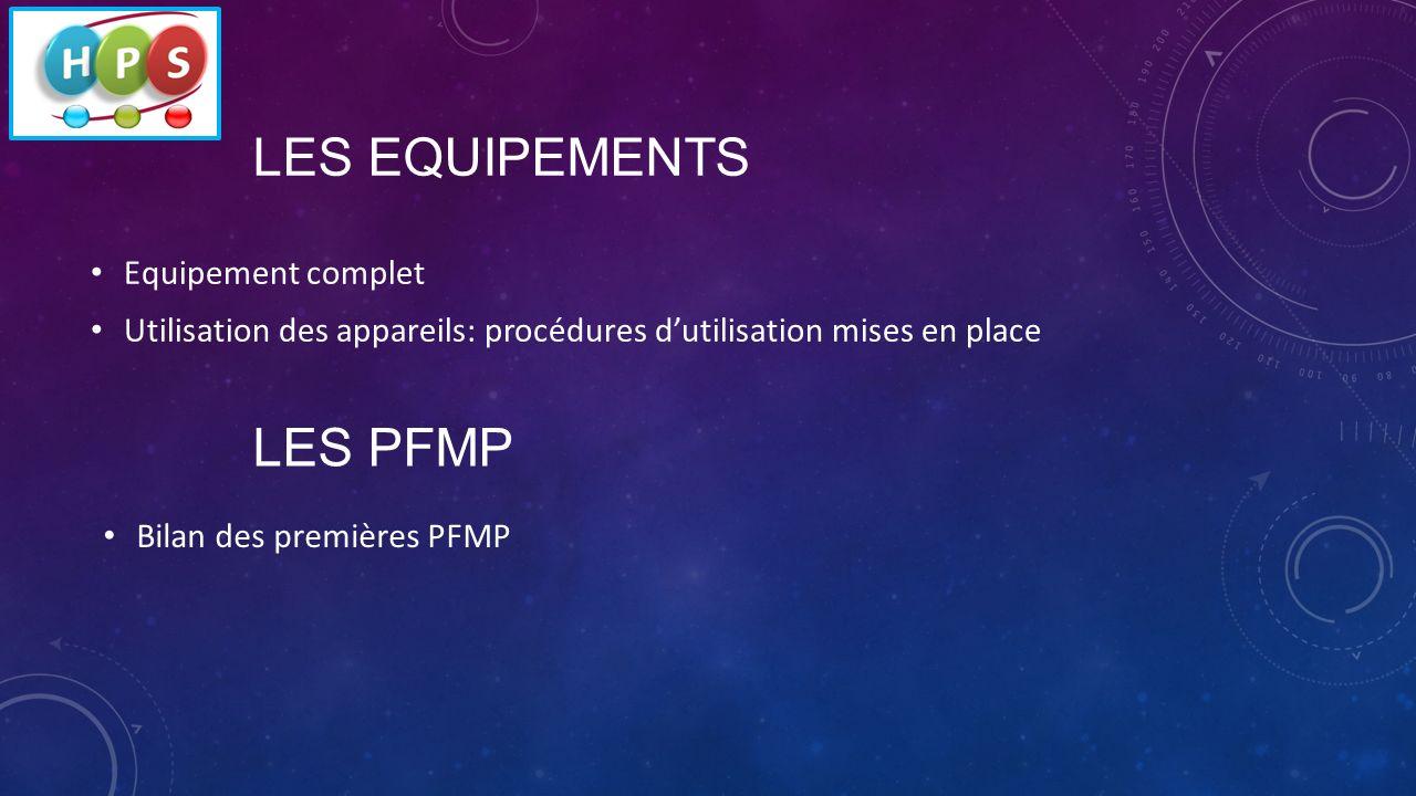 LES EQUIPEMENTS Equipement complet Utilisation des appareils: procédures dutilisation mises en place LES PFMP Bilan des premières PFMP