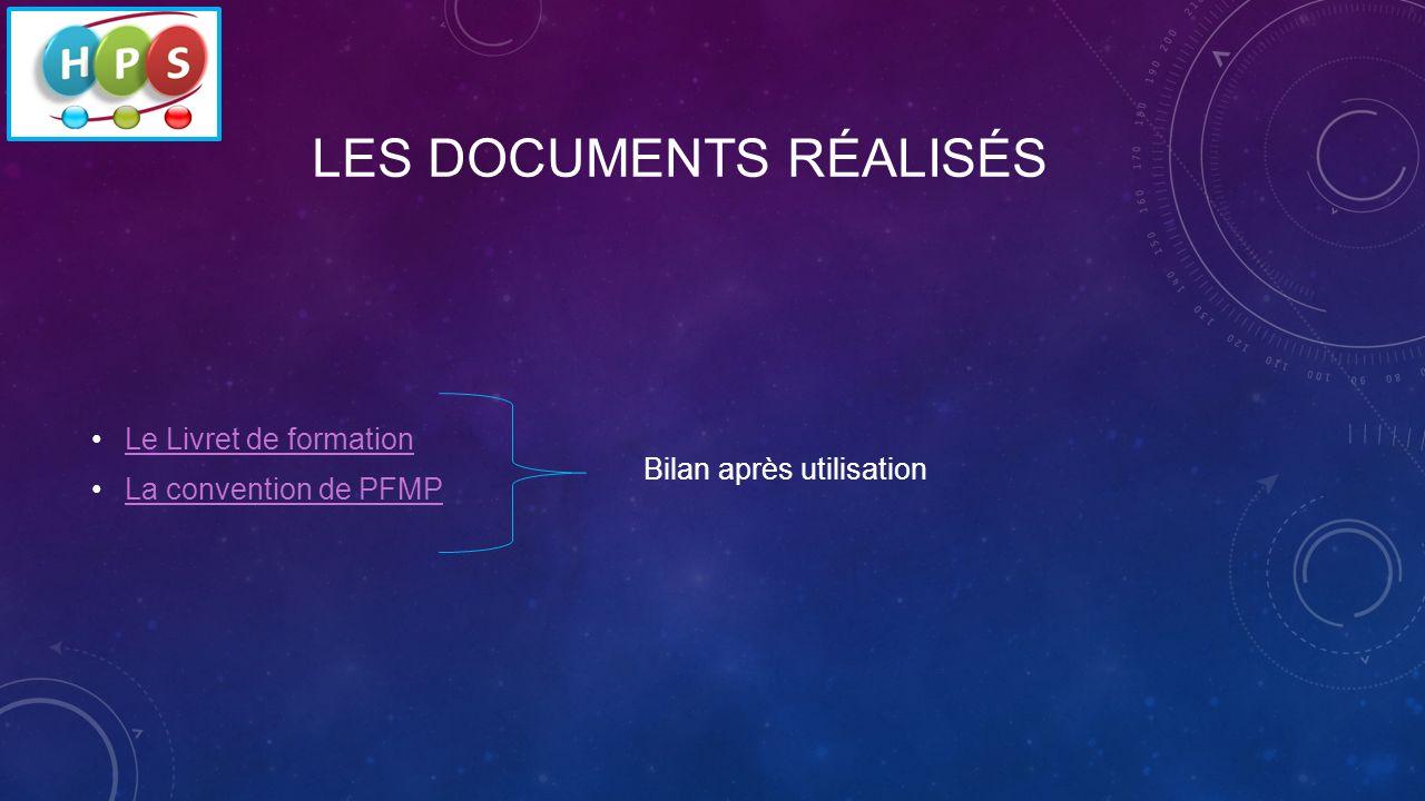 LES DOCUMENTS RÉALISÉS Le Livret de formation La convention de PFMP Bilan après utilisation