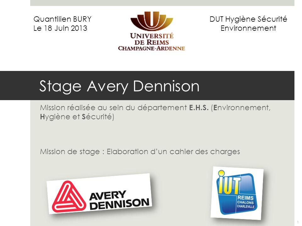 Stage Avery Dennison Mission réalisée au sein du département E.H.S. ( E nvironnement, H ygiène et S écurité) Mission de stage : Elaboration dun cahier