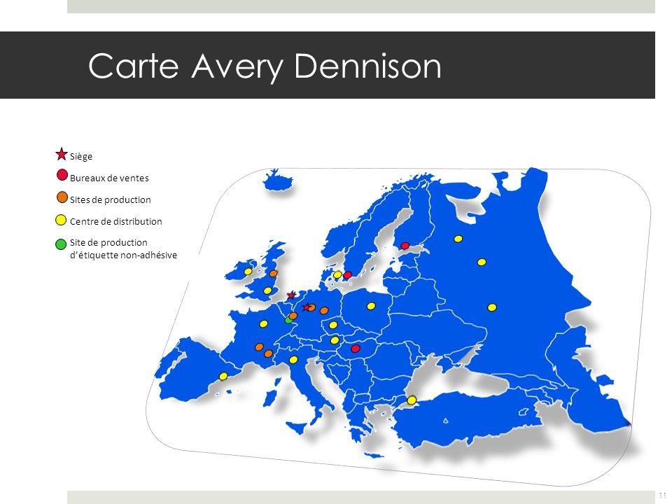 Carte Avery Dennison Siège Bureaux de ventes Sites de production Centre de distribution Site de production détiquette non-adhésive 11