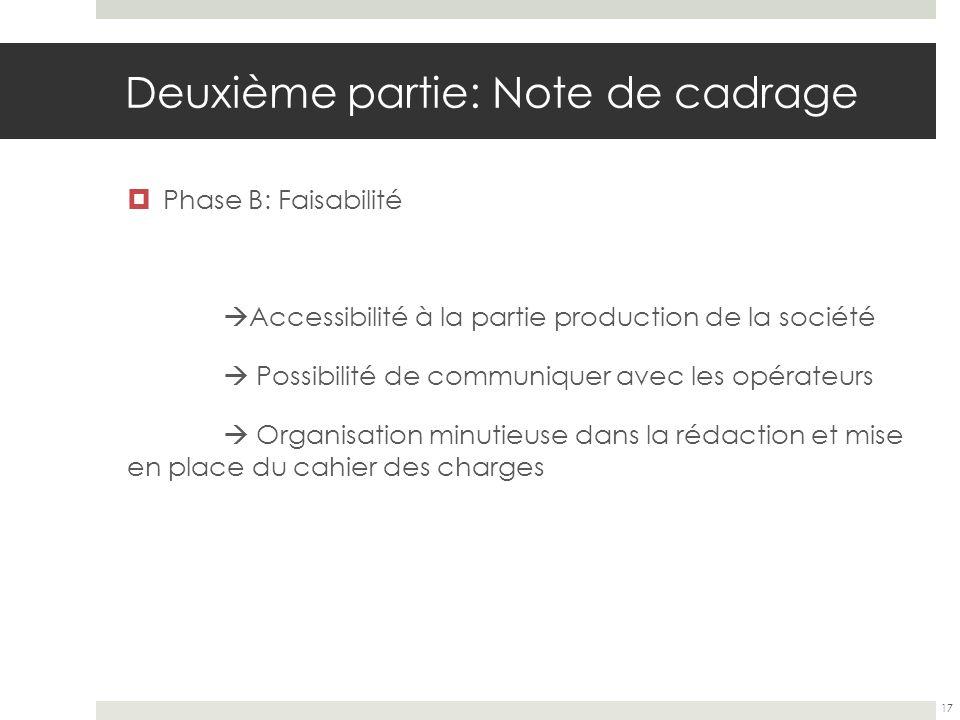 Deuxième partie: Note de cadrage Phase B: Faisabilité Accessibilité à la partie production de la société Possibilité de communiquer avec les opérateur