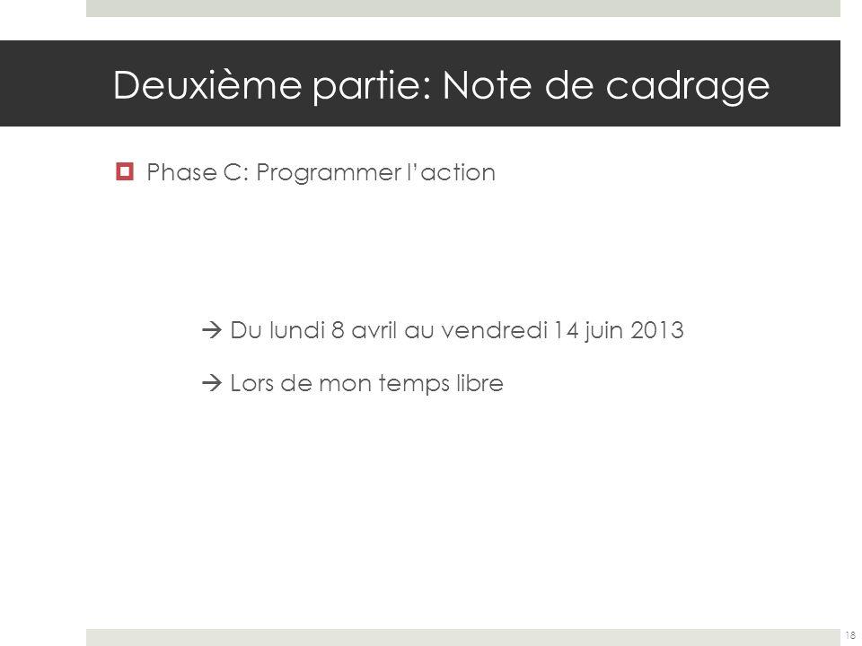 Deuxième partie: Note de cadrage Phase C: Programmer laction Du lundi 8 avril au vendredi 14 juin 2013 Lors de mon temps libre 18
