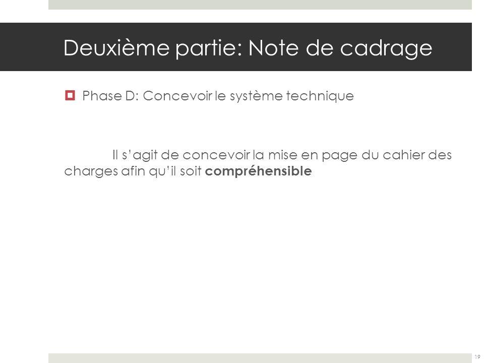 Deuxième partie: Note de cadrage Phase D: Concevoir le système technique Il sagit de concevoir la mise en page du cahier des charges afin quil soit co
