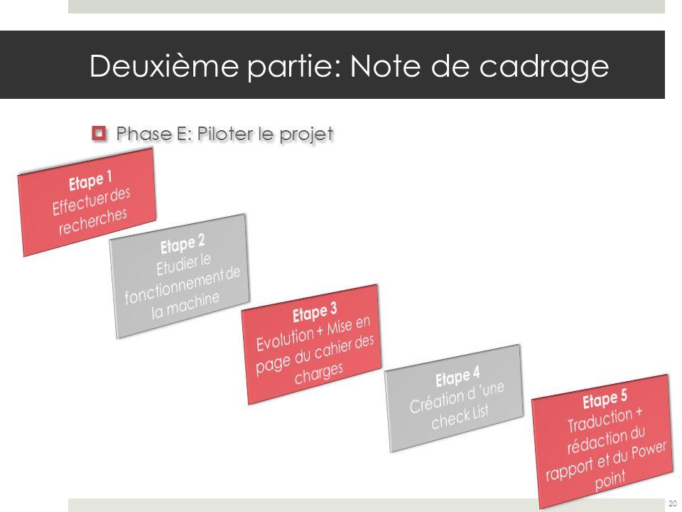 Deuxième partie: Note de cadrage Phase E: Piloter le projet 20