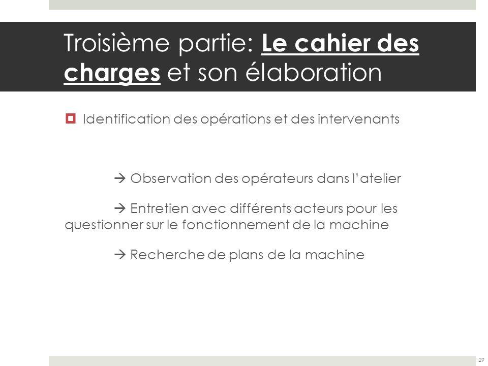 Troisième partie: Le cahier des charges et son élaboration Identification des opérations et des intervenants Observation des opérateurs dans latelier