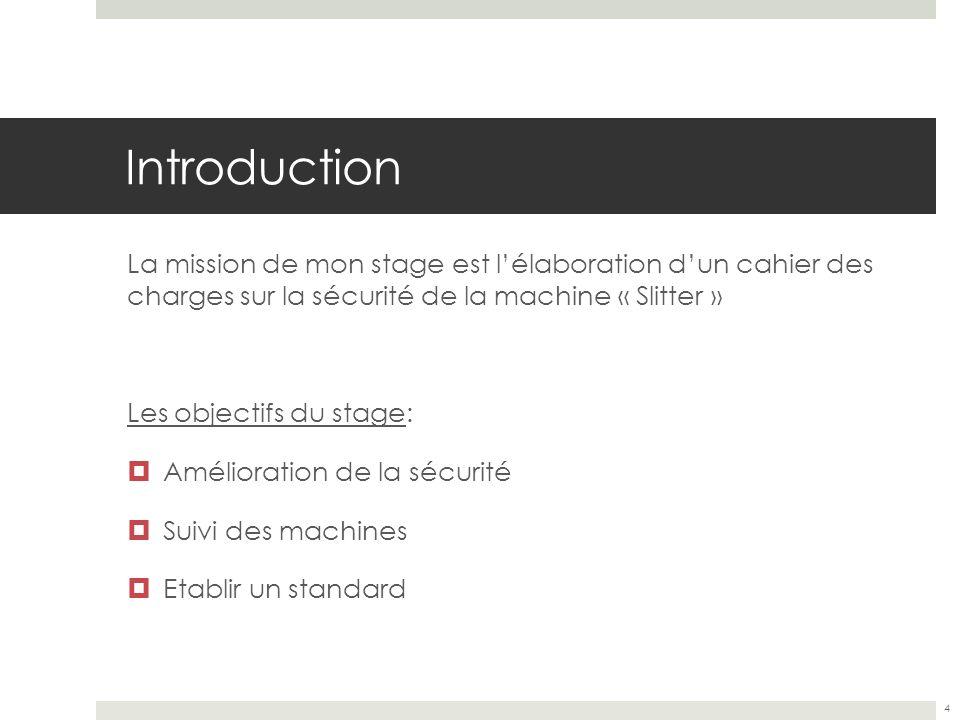 Introduction La mission de mon stage est lélaboration dun cahier des charges sur la sécurité de la machine « Slitter » Les objectifs du stage: Amélior