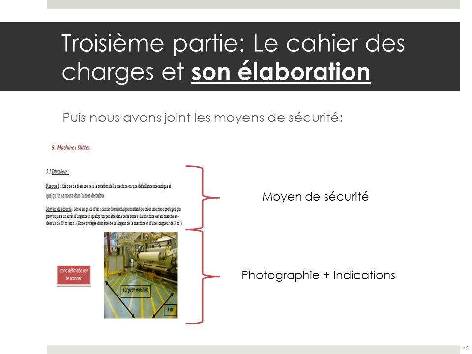 Troisième partie: Le cahier des charges et son élaboration Puis nous avons joint les moyens de sécurité: 45 Moyen de sécurité Photographie + Indicatio