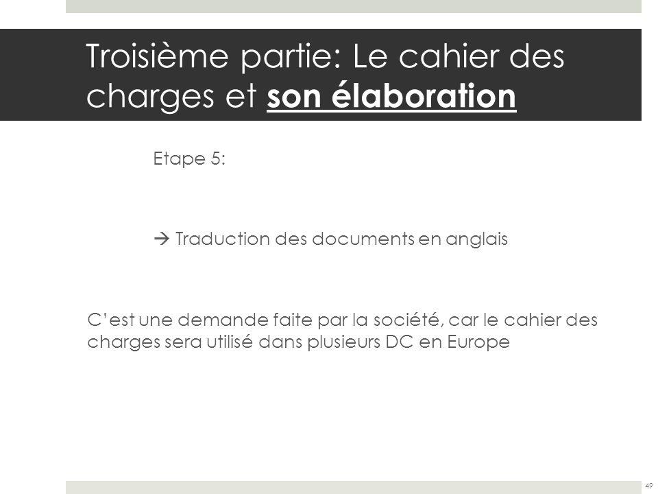 Troisième partie: Le cahier des charges et son élaboration Etape 5: Traduction des documents en anglais Cest une demande faite par la société, car le