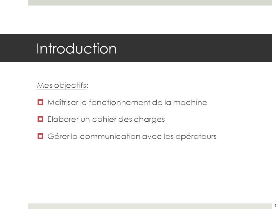 Introduction Mes objectifs: Maîtriser le fonctionnement de la machine Elaborer un cahier des charges Gérer la communication avec les opérateurs 5