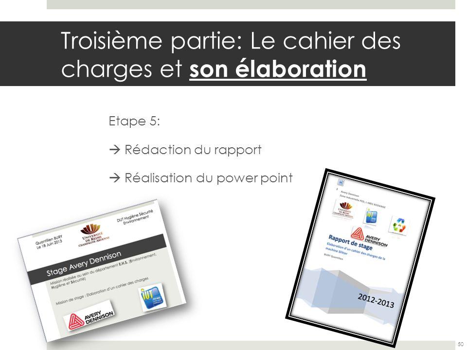 Troisième partie: Le cahier des charges et son élaboration Etape 5: Rédaction du rapport Réalisation du power point 50