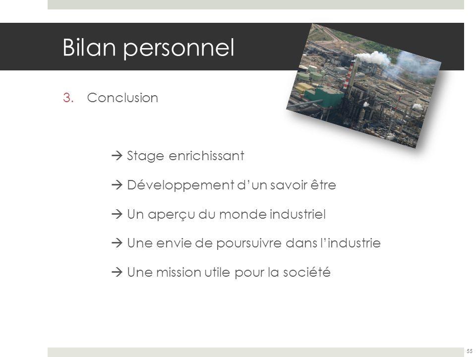 Bilan personnel 3.Conclusion Stage enrichissant Développement dun savoir être Un aperçu du monde industriel Une envie de poursuivre dans lindustrie Un