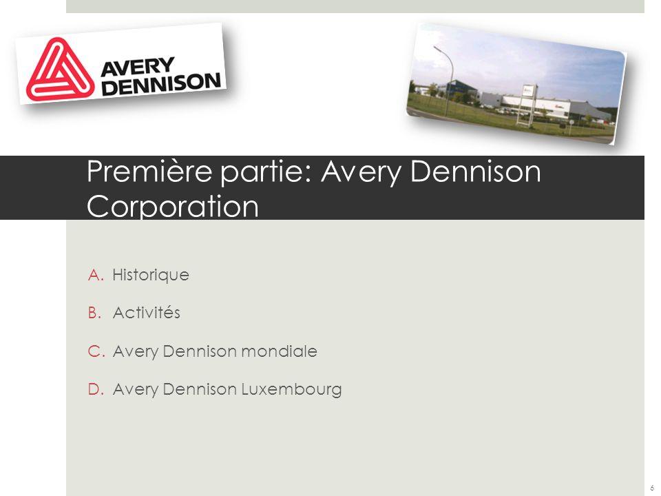 Première partie: Avery Dennison Corporation A.Historique: Naissance de létiquette autocollante par Stanton Avery 1935 Fondation dAvery 1937 7