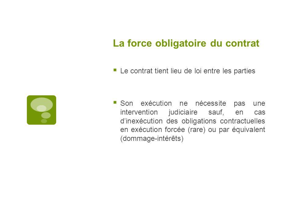 La force obligatoire du contrat Le contrat tient lieu de loi entre les parties Son exécution ne nécessite pas une intervention judiciaire sauf, en cas
