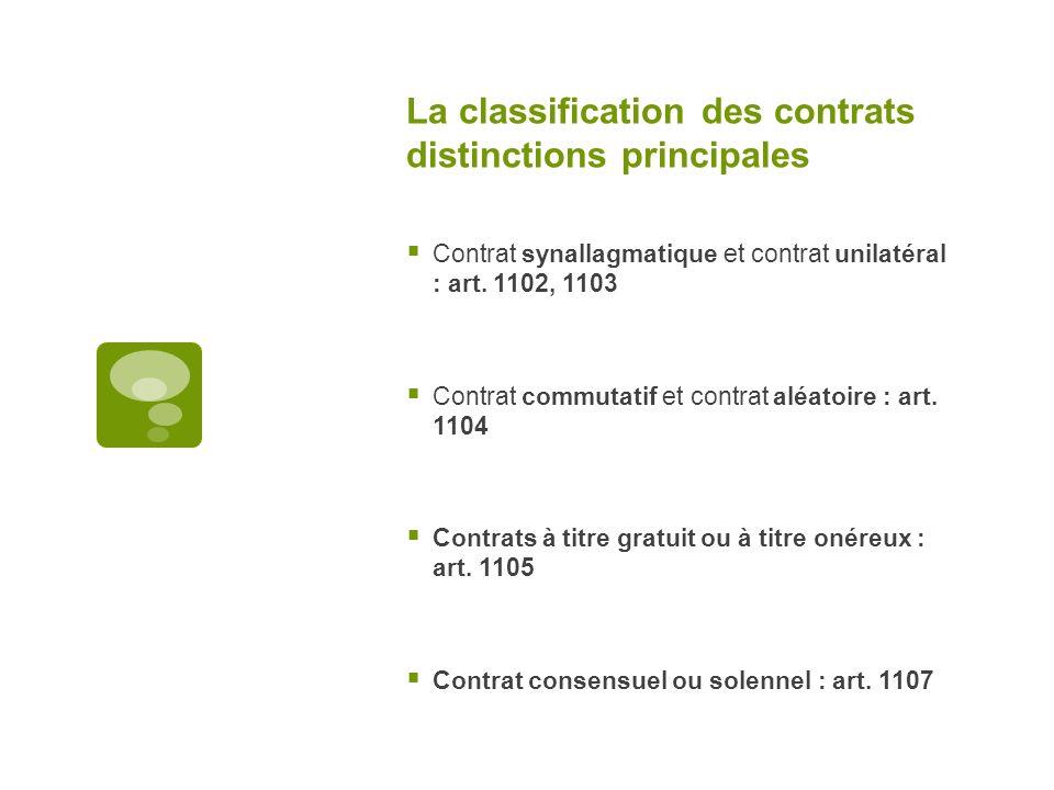 La classification des contrats distinctions principales Contrat synallagmatique et contrat unilatéral : art. 1102, 1103 Contrat commutatif et contrat