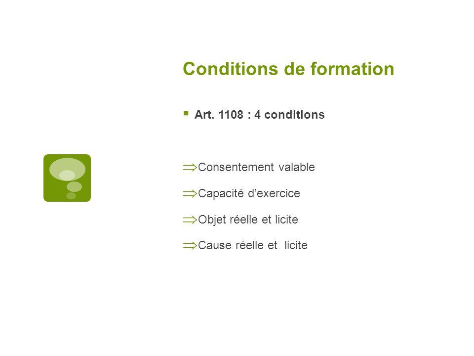 Conditions de formation Art. 1108 : 4 conditions Consentement valable Capacité dexercice Objet réelle et licite Cause réelle et licite