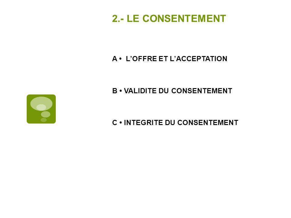 2.- LE CONSENTEMENT A LOFFRE ET LACCEPTATION B VALIDITE DU CONSENTEMENT C INTEGRITE DU CONSENTEMENT