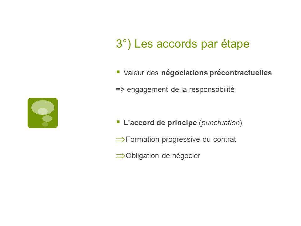 3°) Les accords par étape Valeur des négociations précontractuelles => engagement de la responsabilité Laccord de principe (punctuation) Formation pro