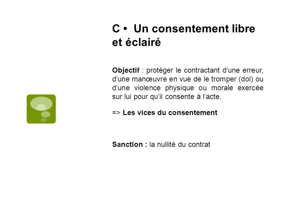 C Un consentement libre et éclairé Objectif : protéger le contractant dune erreur, dune manœuvre en vue de le tromper (dol) ou dune violence physique