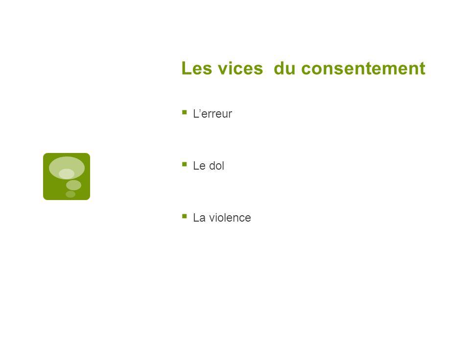Les vices du consentement Lerreur Le dol La violence