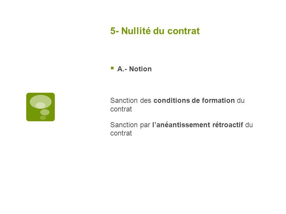 5- Nullité du contrat A.- Notion Sanction des conditions de formation du contrat Sanction par lanéantissement rétroactif du contrat