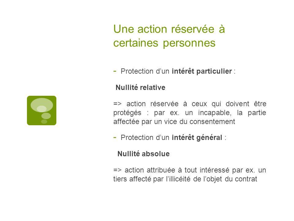 Une action réservée à certaines personnes - Protection dun intérêt particulier : Nullité relative => action réservée à ceux qui doivent être protégés