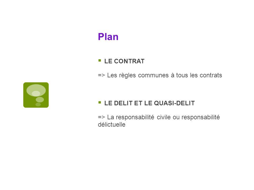 Plan LE CONTRAT => Les règles communes à tous les contrats LE DELIT ET LE QUASI-DELIT => La responsabilité civile ou responsabilité délictuelle