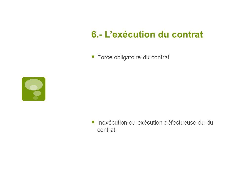 6.- Lexécution du contrat Force obligatoire du contrat Inexécution ou exécution défectueuse du du contrat