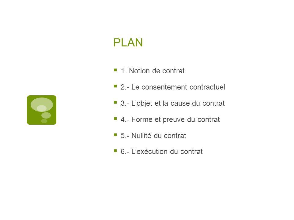 PLAN 1. Notion de contrat 2.- Le consentement contractuel 3.- Lobjet et la cause du contrat 4.- Forme et preuve du contrat 5.- Nullité du contrat 6.-