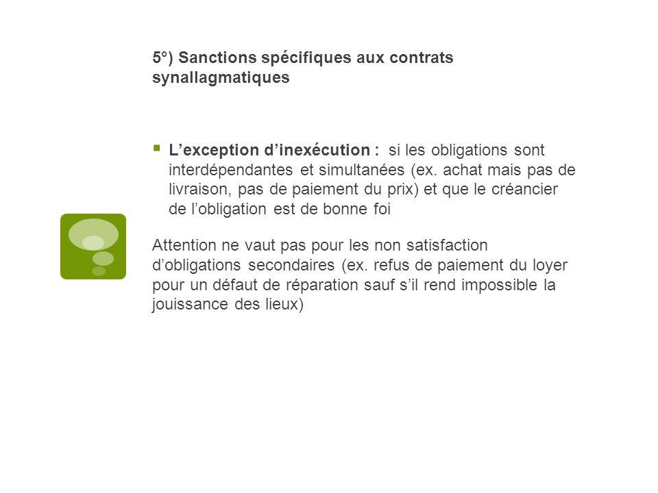 5°) Sanctions spécifiques aux contrats synallagmatiques Lexception dinexécution : si les obligations sont interdépendantes et simultanées (ex. achat m