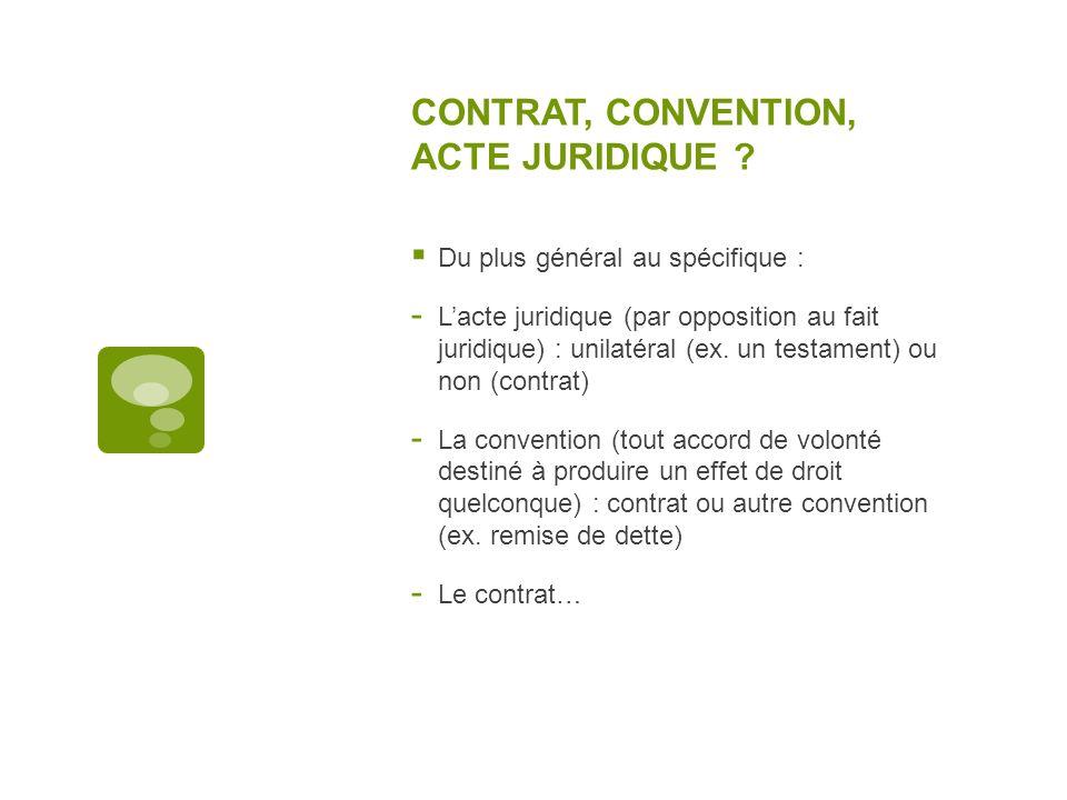 CONTRAT, CONVENTION, ACTE JURIDIQUE ? Du plus général au spécifique : - Lacte juridique (par opposition au fait juridique) : unilatéral (ex. un testam