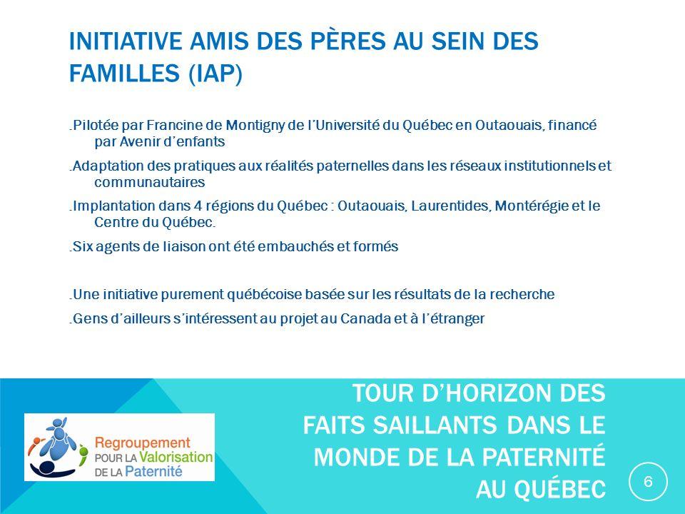 JOURNÉE INTERNATIONALE DES HOMMES - 19 NOVEMBRE.Le 19 novembre, dans le cadre de la journée Internationale des hommes, 30 activités ont été présentées dans 10 régions du Québec afin de promouvoir la santé et le bien-être des hommes..Plusieurs de ces activités se sont intéressées à la santé et au bien-être des pères québécois..Le Regroupement provincial en Santé et Bien-être des hommes souhaite que le 19 novembre devienne un rendez-vous annuel pour tous ceux qui ont à cœur la santé et le bien-être des hommes dans le respect de légalité entre les femmes et les hommes.