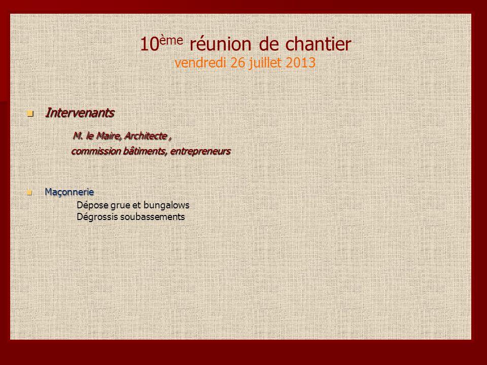 10 ème réunion de chantier vendredi 26 juillet 2013 Intervenants Intervenants M.