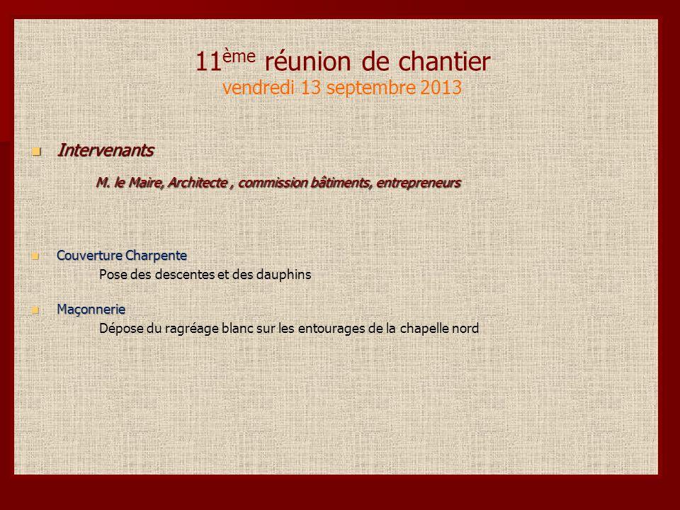 11 ème réunion de chantier vendredi 13 septembre 2013 Intervenants Intervenants M.