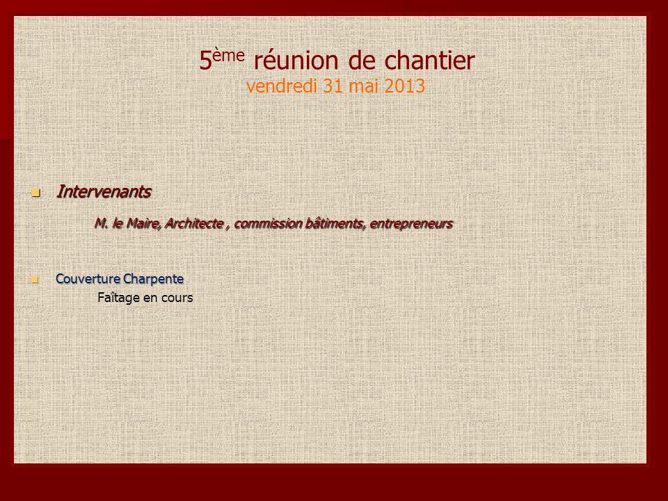 6 ème réunion de chantier vendredi 7 juin 2013 Intervenants Intervenants M.