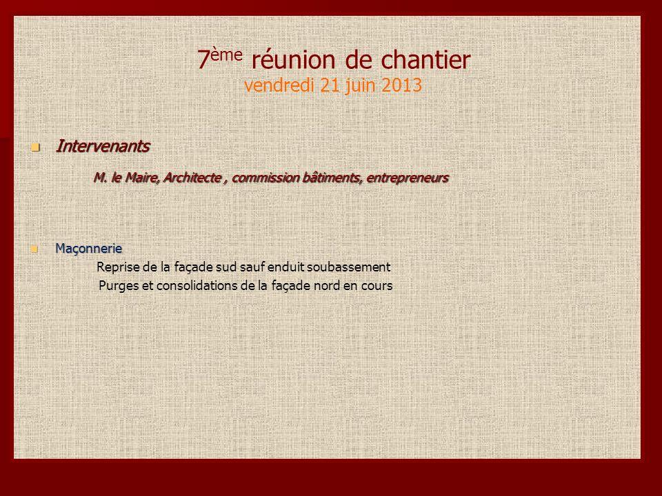 7 ème réunion de chantier vendredi 21 juin 2013 Intervenants Intervenants M.