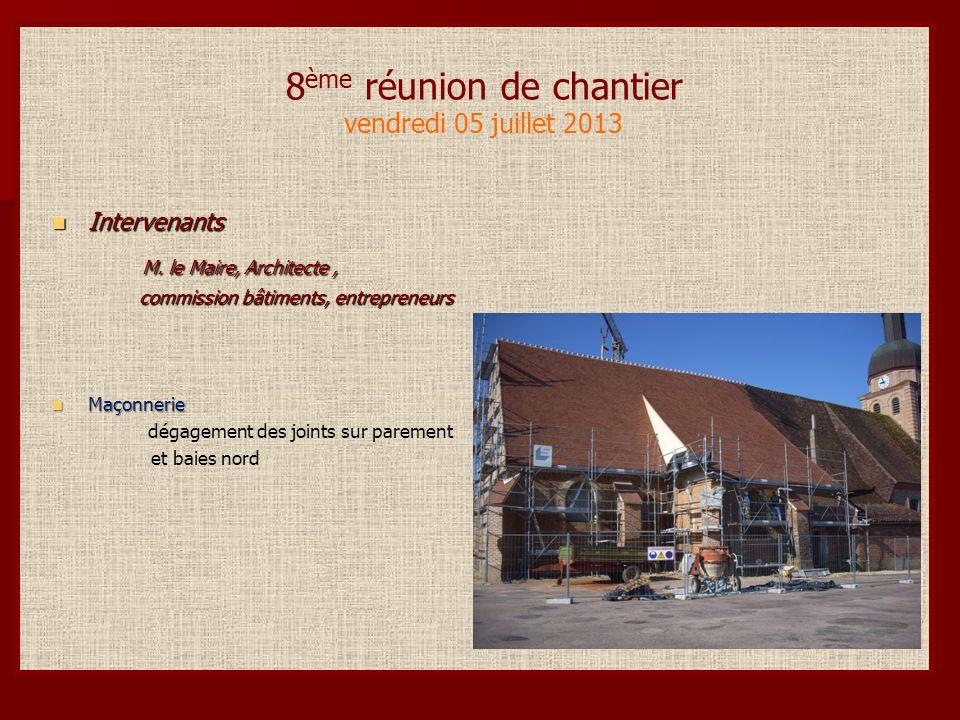 8 ème réunion de chantier vendredi 05 juillet 2013 Intervenants Intervenants M.