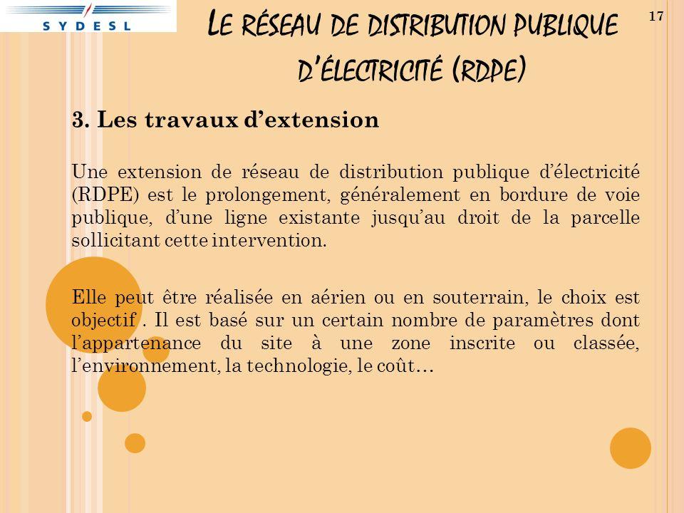 L E RÉSEAU DE DISTRIBUTION PUBLIQUE D ÉLECTRICITÉ ( RDPE ) 3. Les travaux dextension Une extension de réseau de distribution publique délectricité (RD