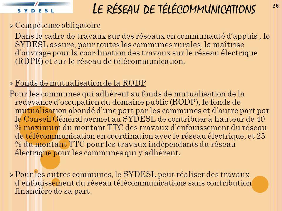 L E RÉSEAU DE TÉLÉCOMMUNICATIONS Compétence obligatoire Dans le cadre de travaux sur des réseaux en communauté dappuis, le SYDESL assure, pour toutes les communes rurales, la maîtrise douvrage pour la coordination des travaux sur le réseau électrique (RDPE) et sur le réseau de télécommunication.