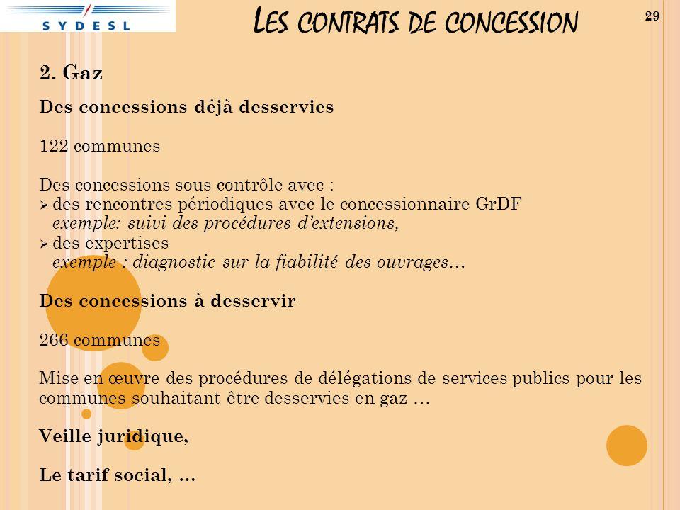 L ES CONTRATS DE CONCESSION 2. Gaz Des concessions déjà desservies 122 communes Des concessions sous contrôle avec : des rencontres périodiques avec l