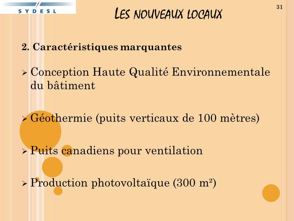 L ES NOUVEAUX LOCAUX 2. Caractéristiques marquantes Conception Haute Qualité Environnementale du bâtiment Géothermie (puits verticaux de 100 mètres) P