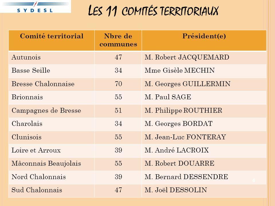 L ES 11 COMITÉS TERRITORIAUX Comité territorialNbre de communes Président(e) Autunois47M. Robert JACQUEMARD Basse Seille34Mme Gisèle MECHIN Bresse Cha