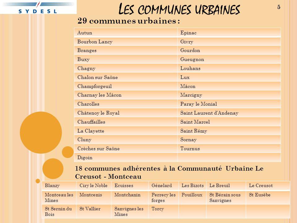 L ES COMMUNES URBAINES 29 communes urbaines : AutunEpinac Bourbon LancyGivry BrangesGourdon BuxyGueugnon ChagnyLouhans Chalon sur SaôneLux Champforgeu