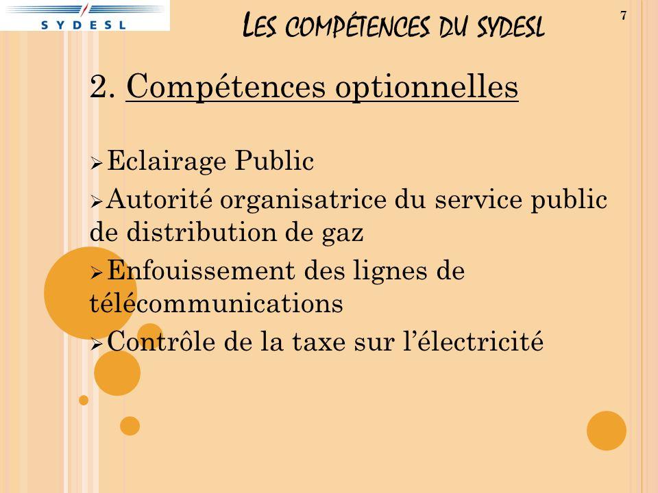 L ES COMPÉTENCES DU SYDESL 2. Compétences optionnelles Eclairage Public Autorité organisatrice du service public de distribution de gaz Enfouissement