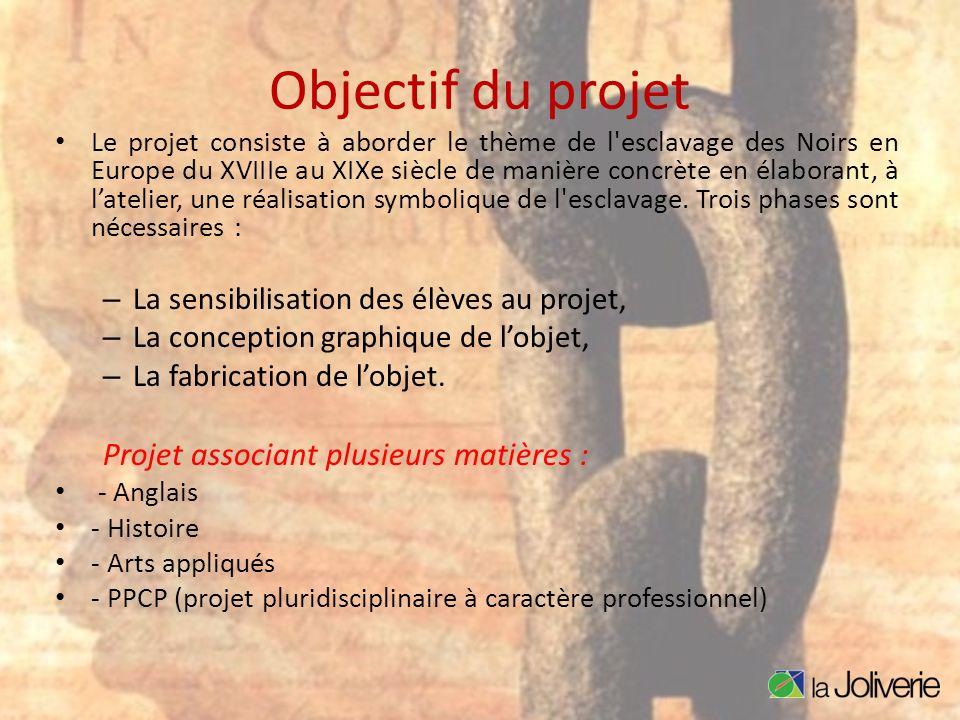 Objectif du projet Le projet consiste à aborder le thème de l'esclavage des Noirs en Europe du XVIIIe au XIXe siècle de manière concrète en élaborant,
